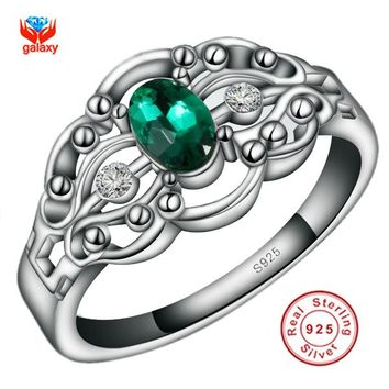 GALAXY Real 100% Solid 925 Sterling Silver Ring Fashion Jewelry With S925 Mark Green Zircon Wedding Ring For Women YH114