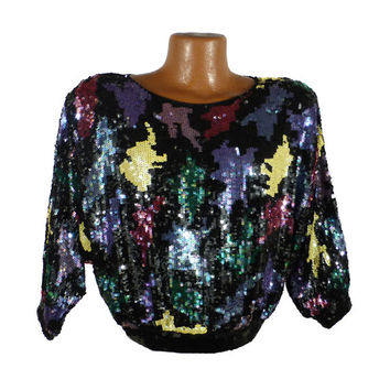 Sequin Shirt Top Vintage 1970s 70s Disco Blouse Royal Feelings  Silk Black and White Women's L