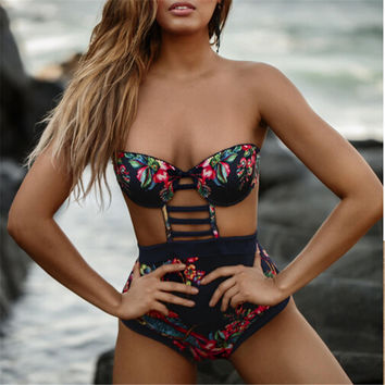 One Piece Swimsuit Women Swimwear Female Retro Plus Size Swimwear 2017 Vintage Large Bathing Suit Swim Beachwear Black-0408