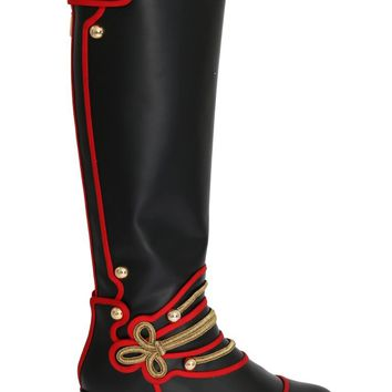 Black Leather Gold Studs Boots