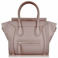 Women's Designer Leather Style Celebrity Tote Bag Smile Shoulder Handbag Nude