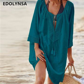 Women Swimsuit Cover Ups Sexy Kaftan Beach Tunic Dress 2019 Summer Robe De Plage Solid Cotton Pareo Beach Cover Up #Q363