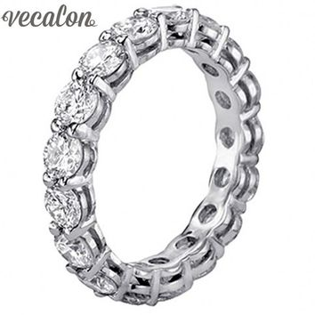 Vecalon Women Jewelry 925 Sterling Silver Ring Full Round 4mm AAAAA Zircon cz Engagement Wedding band Rings For Women
