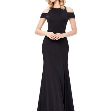 Full-Length evening Dresses Long Formal Gown Hollowed Cap Sleeve High Split Evening Party Dress