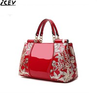 ICEV luxury designer high quality patent split leather women's handbags famous brands lace embroidery messenger bag ladies tote