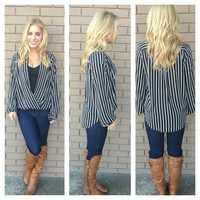 Black & White Stripe Long Sleeve Open Blouse