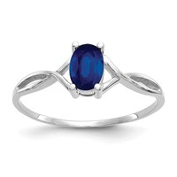 14k White Gold Genuine Blue Sapphire September Birthstone Ring
