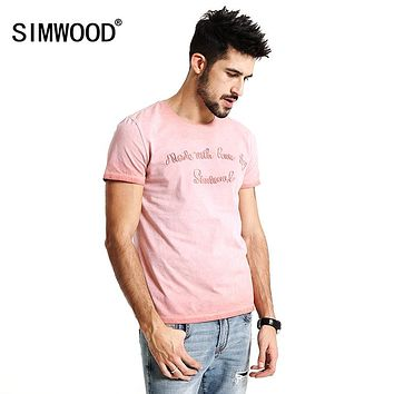 Summer New T Shirt Men Pure Cotton Vintage Letter embroidered Slim Fit Tops Clothing