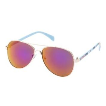 Purple Combo Floral Print Aviator Sunglasses by Charlotte Russe