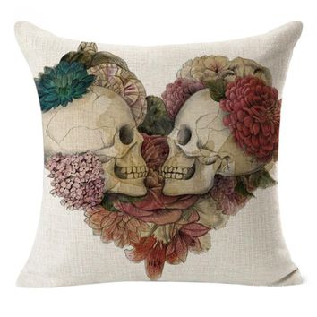 Pillow Covers Decorative Linen Skull Cushion Covers Floral Pattern Vintage Throw Pillow Cases for Sofa Almofadas Para Sofa #7418
