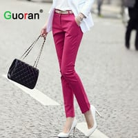 {Guoran} women formal office work pants 5 colors plus size ladies pencil pants black OL fashion black white khaki trousers