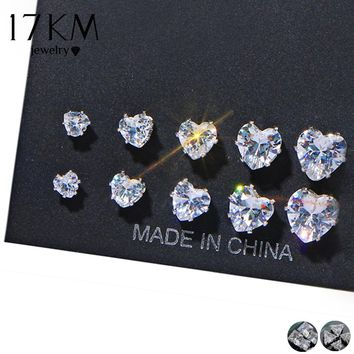 17KM Geometric Cubic Zirconia Stud Earrings Set For Woman Fashion Round Heart Triangle Earring Statement Party Jewelry 2018 New