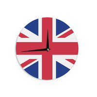 """Bruce Stanfield """"Classic Union Jack"""" Blue Red Wall Clock"""
