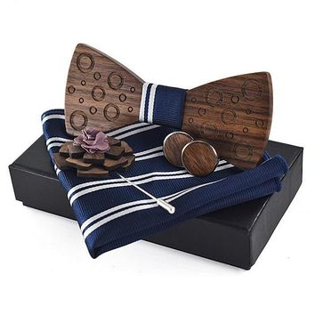 Pocket Square, Brooch, Cuff link, Wooden Bow Tie Set