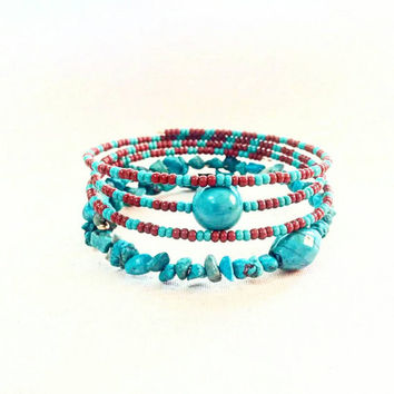 Turquoise Wrap Bracelet; Beaded Stack Bracelets; Turquoise and Brown; Multi Strand; Set of Two