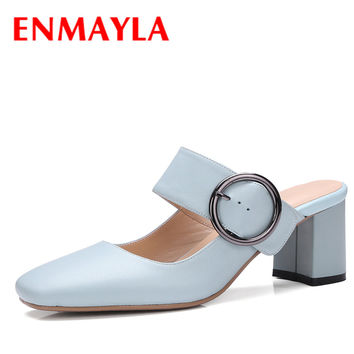 ENMAYLA Women Summer  Square Toe Mules Shoes Woman Close Toe Bukle Sandals Women High Heels Bule Shoes