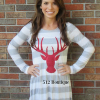 Reindeer and Stripes Tunic H.Grey