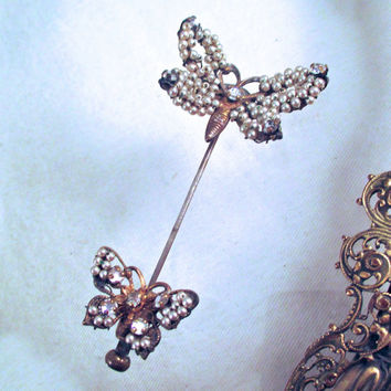 Vintage MIRIAN HASKELL STICKPIN Russian Gold Seed Pearls Rhinestones Two Butterfly's Stick Pin Brooch