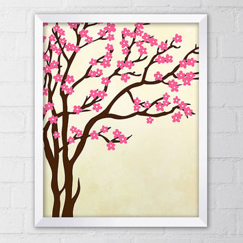 Tree with Flowers Illustration, Cherry Blossoms, Art Print, 8x10 Printable Digital file, Wall art, Pink, Yellow, Home decor, Nursery art