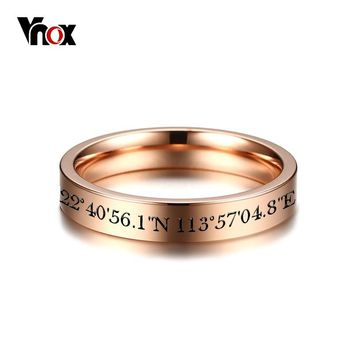 Vnox Free Engraving GPS Location Longitude and Latitude Info Wedding Bands Ring for Women 3 Colors Stainless Steel Finger Rings