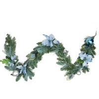 6' Pre-Decorated Peacock Blue  Silver Balls and Poinsettias Artificial Christmas Garland - Unlit