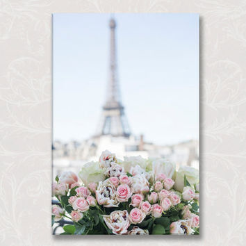 Paris Photo on Canvas, A Paris Balcony, Eiffel Tower, Roses, Gallery Wrapped Canvas, Large Wall Art, French Home Decor, Travel Photograph