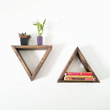 Small Wood Triangle Floating Shelf - Geometric Shelves - Entryway organizer Modern Shelf - Gift for Her
