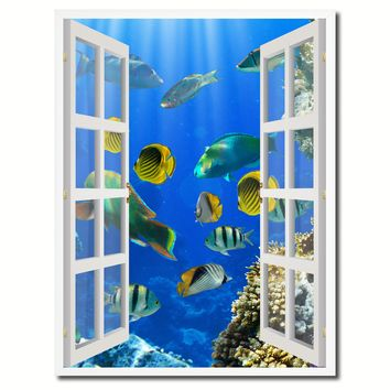 Tropical Island Fish Picture French Window Canvas Print with Frame Gifts Home Decor Wall Art Collection