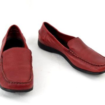 Trotters Leather Shoes Poplar Slip On Loafer Red Womens Size 9 M made in Brazil