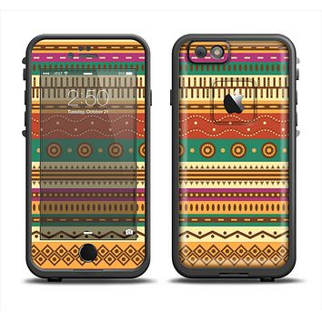 The Aztec Tribal Vintage Tan and Gold Pattern V6 Apple iPhone 6 LifeProof Fre Case Skin Set