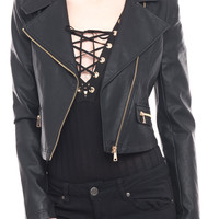 FAUX LEATHER MOTO ZIP-UP JACKET - SPECIAL