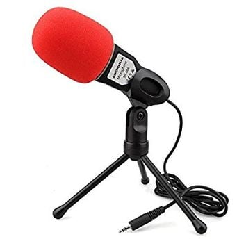 Professional Stereoscopic Condenser Sound Microphone With Stand for PC Laptop Skype MSN QQ Recording Black