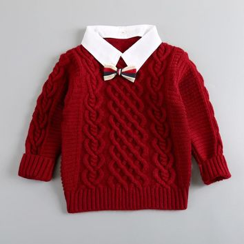 Cable Knit Bow Tie Sweater