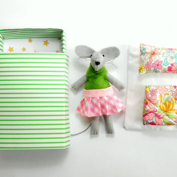 Stuffed animal felt mouse  green pink floral