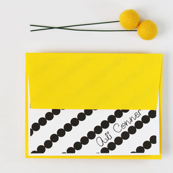 Personalized Stationary Custom Stationery Black and Yellow Scalloped Stripes with Yellow Envelopes Black and Gold Teacher Gift - Set of 10