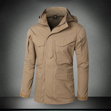 LANBAOSI Outdoor Sports Men's Hunting Trench Army Tactical Self-cultivation Long Trench Coat Military Men Dust Trenches