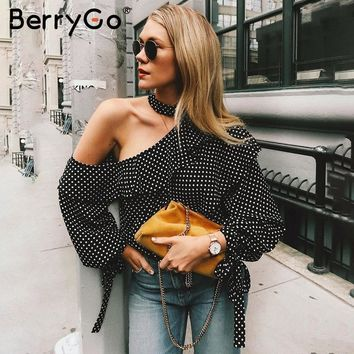 BerryGo One shoulder polka dot blouse shirt Retro ruffle lantern sleeve chiffon blouse Sexy summer bow women blouses