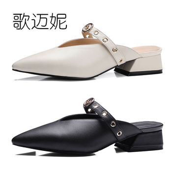 mules low heel shoes womens pumps women's summer shoes woman pumps women heels genuine leather designer shoes women luxury 2017