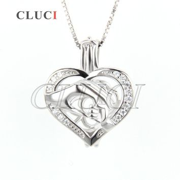 CLUCI Little hand holding big hand shaped 925 Sterling Silver Cage Locket Necklace Pendant, best Mother's Day gift necklace