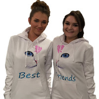 "2 matching ""best friend"" white hoodies"