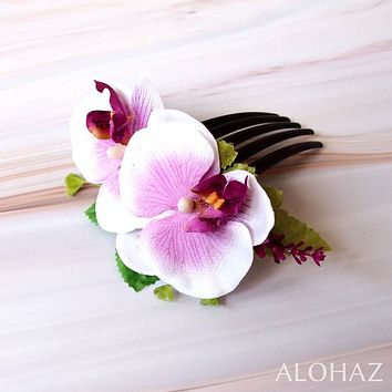 Lilac / White Orchid Joy Hawaiian Hair Comb