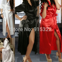 Womens Long Black Sexy Silk Kimono Dressing Gown Bath Robe Babydoll Lingerie Nightdress = 1932802308