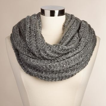 Chunky Gray Infinity Scarf with Sequins