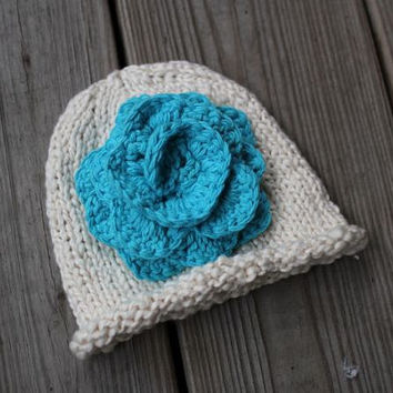 Hat - Newborn Baby Hat - Organic Cotton Knit Baby Hat with Crochet Rose - Baby Beanies