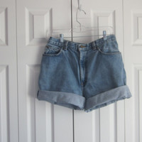 Cut Off Jean Shorts, High Waisted Shorts, Womens Size 14 Mom Jeans, High Waist 34, Roll Up Denim Shorts, Hipster Grunge Boyfriend Shorts