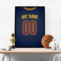 Cleveland Cavaliers Blue Jersey Poster - Print Personalized Select ANY Name & ANY Number