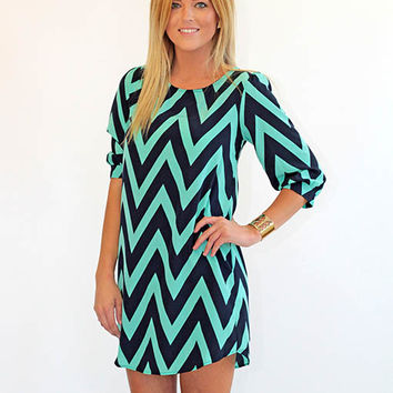 Only Chevron I See Navy and Mint Shift Dress - Lotus Boutique