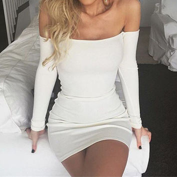 Fashion Autumn Dress 2016 Women Sexy Off Shoulder Mini Dresses Ladies Slash Neck Bodycon Club Party Dresses White Vestidos