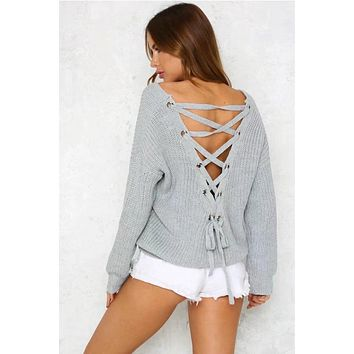 Lace Up Back V Neck Loosing Sweaters