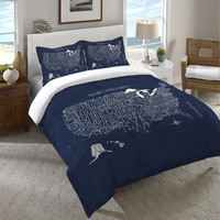 Hand Lettered US Map Blueprint Duvet Cover